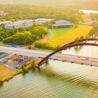 Pennybacker Bridge (360 Bridge) in Austin, Texas on a sunny day.