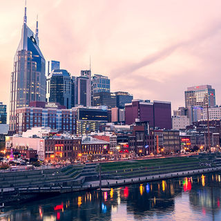 Nashville (Tennessee) downtown street at sunset.